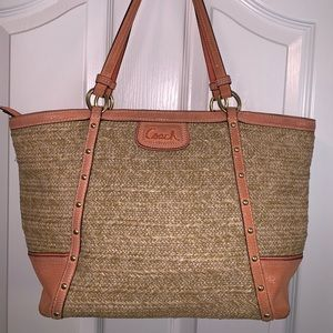 Coach straw and leather tote bag